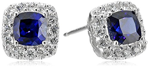 Sterling Silver Created Blue and White Sapphire Halo Cushion Stud Earrings by Amazon Collection