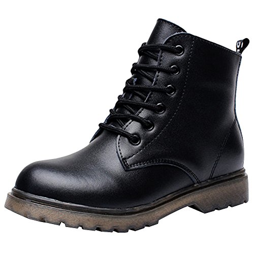rismart Boys' Kids' Ankle High Round Toe Waterproof Mountain Split Leather Motorcycle Boots - stylishcombatboots.com