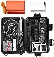 Survival Kit, 11-in-1 Design Emergency Survival Tool Compact Survival Gear, SOS Survival Kit Outdoor Emergency