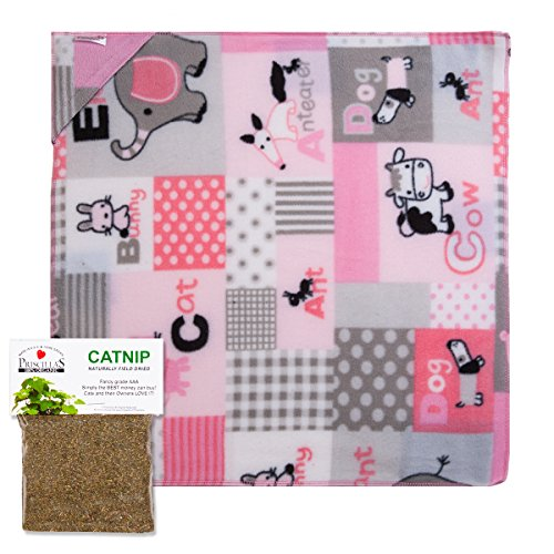 Priscilla's ABC Blanket with a Refillable Pocket for Catnip and our 100% Organic Catnip Packet