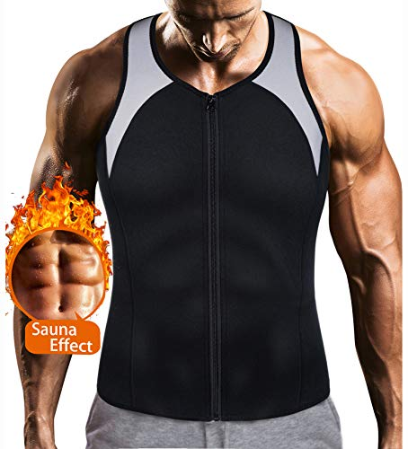 LODAY Mens Sauna Waist Trainer Corset Vest with Zipper for Weight Loss Hot Sweat Neoprene Body Shaper Gym Workout Tank Top (Best Exercise For Boobs)