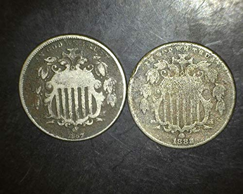 1866 to 1883 Shield Nickels Set of 2-Coins Different Dates Full Readable Dates Circulated and Better