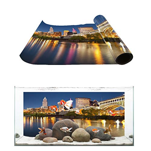 Fantasy Star Aquarium Background The Empire State Building New York City Night Scene Fish Tank Wallpaper Easy to Apply and Remove PVC Sticker Pictures Poster Background Decoration 20.4