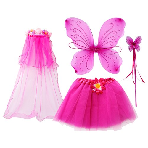 fedio 4Pcs Girls Princess Fairy Costume Set with Wings, Tutu, Wand and Floral Wreath Veil for Children Ages 3-6 (Hot Pink)