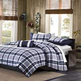 Kaputar Modern Blue RED Navy Sporty Boys Plaid Stripe Textured Quilt Set W/Pillow   Model CMFRTRSTS - 4119   Twin