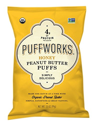 Puffworks Organic Peanut Butter Puffs - Gluten-Free - Non-GMO - Kosher - Dairy Free - 3-Pack (Honey) (Honey Puffs)