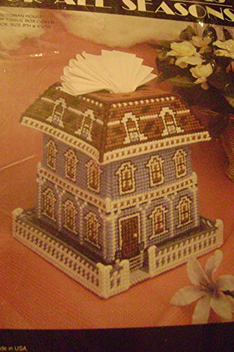 Needlecraft Ala Mode Victorian House Pop Up Tissue Box Cover Plastic Canvas Kit ()