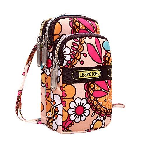 Daopwlkom Women's Multifunction Travel Phone Pouch Wristlet Bag Printing Zipper Sport Shoulder Bag Mini Wrist Purse