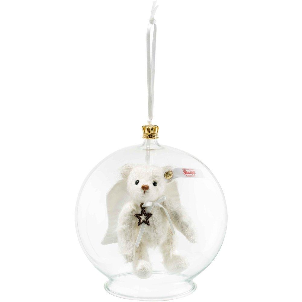 Steiff 006739 Gabriel Teddybär in Glaskugel Ornament Mohair weiß 10 CM