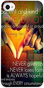 Case for Iphone 4S, Iphone 4 Case Christian Quotes Bible Verses Love Is Patient And Kind Love Is Not Jealous Or Boastful Or Pround Love Never Gives Up Never Loses Faith Is Always Hopeful And Endures Through Every Circumstance