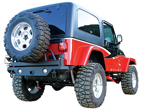 System Tire Away Swing - Rampage Products 78615 Textured Black Rear HD Recovery Bumper with Swing Away Tire Mount for 1987-2006 Jeep Wrangler YJ & TJ