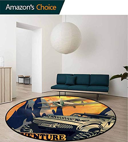 RUGSMAT Adventure Carpet Gray Round Area Rug,Grunge Retro Poster of A Big Car with Huge Tyres and Biplane On The Mountains Pattern Floor Seat Pad Home Decorative Indoor,Round-55 Inch
