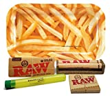 Bundle - 5 Items - RAW King Size Supreme, 110 Roller and Pre-rolled Tips with Rolling Paper Depot Rolling Tray (Fries) and Kewl Tube