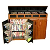 Venture Horizon Top Load CD DVD Media Storage Cabinet - Black and Cherry