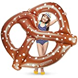 4.5-foot wide Jumbo Salted Soft Pretzel Swimming Pool Float, Inflatable Water Raft by Sol Coastal