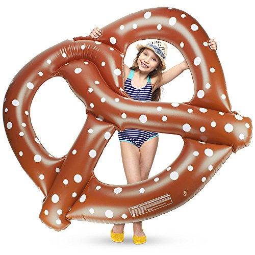 4.5-foot wide Jumbo Salted Soft Pretzel Swimming Pool Float, Inflatable Water Raft by Sol Coastal ()