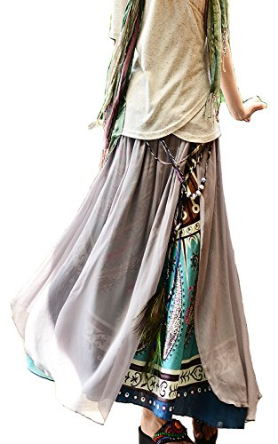 Idea2lifestyle Women's Sari Cotton Chiffon Maxi Skirt Gray/blue Print (Large)