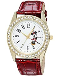 Disney Womens Minnie Mouse Quartz Metal Casual Watch, Color:Red (Model: WDS000381)