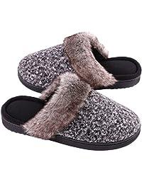 Women's Comfy Memory Foam Slip on Slippers Wool-Like Plush House Shoes w/Anti-Skid Rubber Sole
