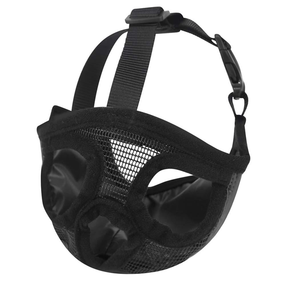 Black SmallDog Muzzles Adjustable Breathable Safety Mesh Muzzle for Biting Chewing Barking Training Dog Mask for Small Medium Extra Bulldog