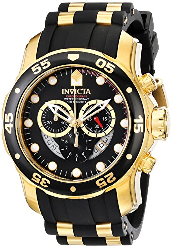 Invicta Mens 6981 Pro Diver Collection Chronograph Black Dial Black Polyurethane Watch