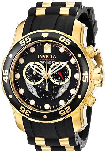 Invicta Mens 6981 Pro Diver Collection Chronograph Black Dial Black Polyurethane Watch