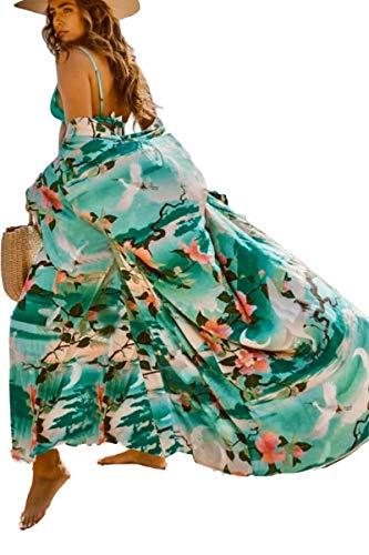 Floral Kimono Womens Kimono Robe Long Kimono Loose Oversized Open Front Cardigan Beachwear Maxi Dress with Belt (3401)