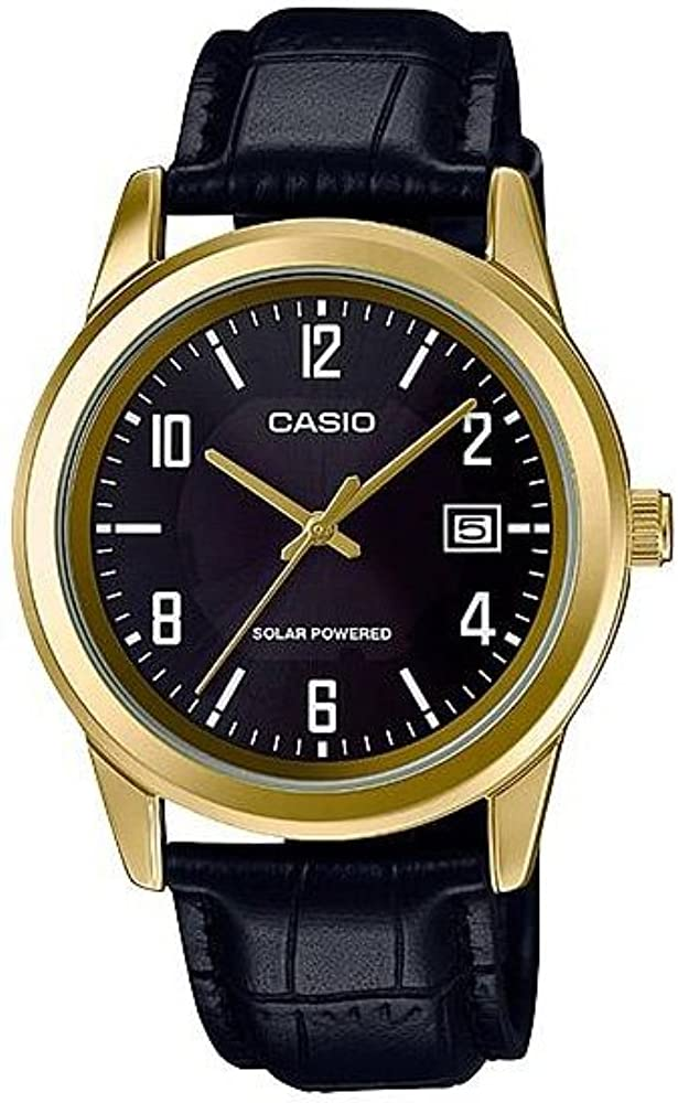 Casio MTP-VS01GL-1B Men s Standard Gold Tone Solar Leather Band Black Dial Date Watch
