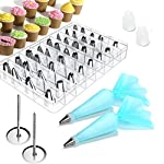 Cake Decorating supplies, Cake Decorating Kit with 36 Icing Tips, 2 Silicone Pastry Bags, 2 Flower Nails, 2 Reusable Plastic Couplers Baking Supplies Frosting Tools Set for Cupcakes Cookies 8 Cake Decorating Supplies Kits: 36 stainless steel icing tips, 2 reusable silicone pastry bag, 2 reusable plastic couplers, 2 flower nails, with which you can create all types of patterns on cake, cupcakes. Decorating Patterns: 11 open star tips, 7 closed star tips, 3 french tips, 3 round tips, 2 plain tips, 4 leaf tips, 3 rose petal tips, 3 special tips. 0.7 inch in diameter, 1.26 inch tall. Premium Baking Supplies Frosting Tool: Strong, durable, stainless steel, corrosion resistant, reusable, non-stick, tasteless & non-toxic, FDA and LFGB approved, easy to clean and dishwasher safe.