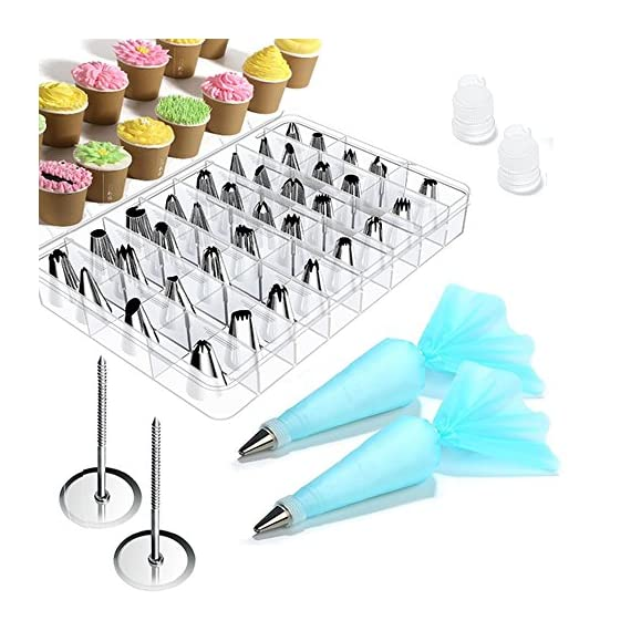 Cake Decorating supplies, Cake Decorating Kit with 36 Icing Tips, 2 Silicone Pastry Bags, 2 Flower Nails, 2 Reusable Plastic Couplers Baking Supplies Frosting Tools Set for Cupcakes Cookies 1 Cake Decorating Supplies Kits: 36 stainless steel icing tips, 2 reusable silicone pastry bag, 2 reusable plastic couplers, 2 flower nails, with which you can create all types of patterns on cake, cupcakes. Decorating Patterns: 11 open star tips, 7 closed star tips, 3 french tips, 3 round tips, 2 plain tips, 4 leaf tips, 3 rose petal tips, 3 special tips. 0.7 inch in diameter, 1.26 inch tall. Premium Baking Supplies Frosting Tool: Strong, durable, stainless steel, corrosion resistant, reusable, non-stick, tasteless & non-toxic, FDA and LFGB approved, easy to clean and dishwasher safe.