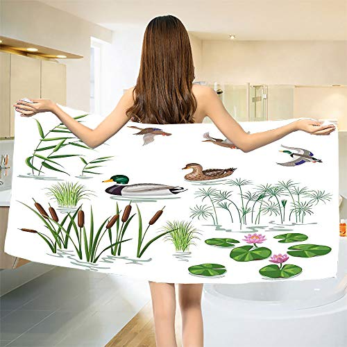 smallbeefly Rubber Duck Bath Towel Lake Animals and Plants with Lily Flowers Reeds Cane in The Pond Nature Park Bathroom Towels White Green Size: W 31.5
