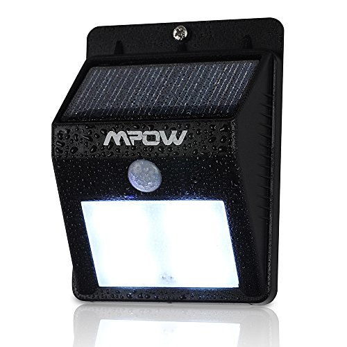 Mpow Solar Powered Wireless Bright 4 Led Security Motion