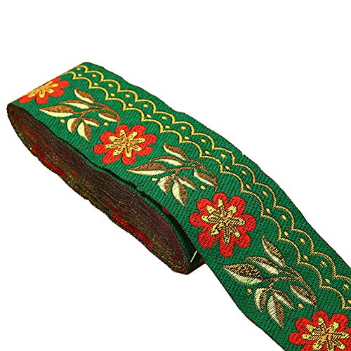 7 Yards 2inch Daisy Leaves on Waves Jacquard Ribbon Floral Embroidered Woven Trim for Embellishment Craft Supplies(Christmas Green)