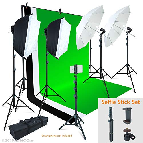 Linco Lincostore Photo Video Studio Light Kit AM169 - Including 3 Color Backdrops (Black/White/Green) Background Screen from Linco