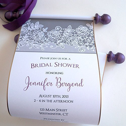 Bridal Shower Invitation Scrolls with Printed Lace in Thunder Gray and Purple, 5