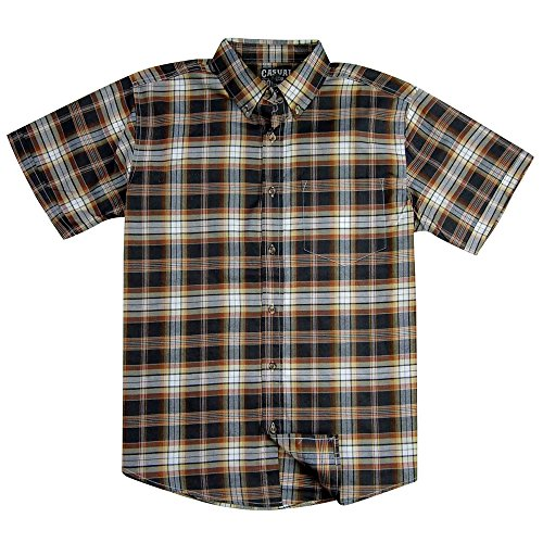 Brown Plaid Western Shirt - Men's Classic Plaid Short Sleeve Casual Shirt; Button Down (Large, Brown)