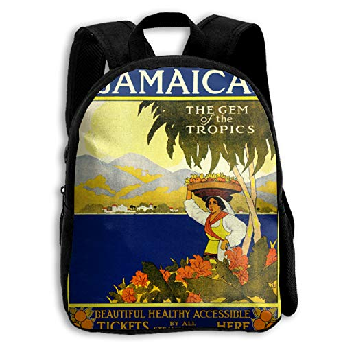 AACC-Bag Children's Bags Vintage Jamaica Travel Poster Boys and Girls Backpack¡¢600D Plain Oxford Coth -