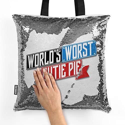 NEONBLOND Mermaid Tote Handbag Funny Worlds worst Cutie Pie Reversible Sequin