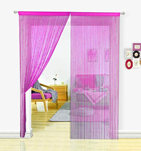 HSYLYM String Curtain with Pearl Beads Dense Fringe Beaded Door Tassel Curtains (100x200cm,Rose)