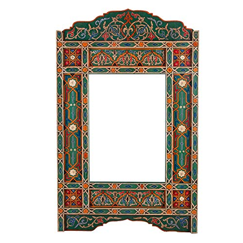 Moroccan Hand Painted Mirror Frame, Green Basil Rectangular Hanging Wall, Wall Mounted -