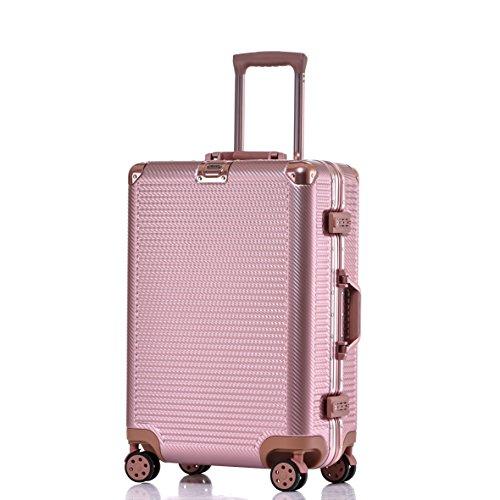 Aluminum Frame Luggage Durable PC Hardshell TSA Lock Spinner Suitcase 24 Inch Rose Gold