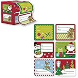 60 Jumbo Self Adhesive Christmas Gift Tags Labels in Easy To Use Roll Just Pull & Place - Juvenile (6 Different Designs) (Juvenile Festive)