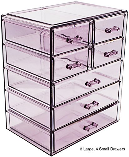 Sorbus Cosmetics Makeup and Jewelry Big Purple Storage Case Display- 3 Large and 4 Small Drawers Space- Saving, Stylish Acrylic Bathroom Case (Big Purple Slide)