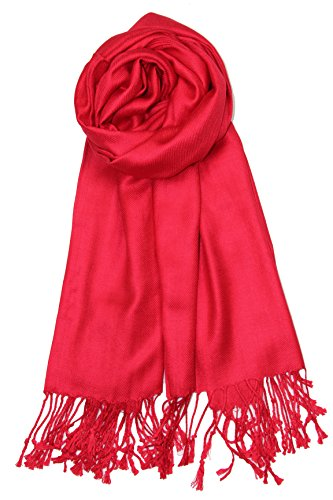 Free Scarf - Achillea Large Soft Silky Pashmina Shawl Wrap Scarf in Solid Colors (Red)