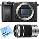 Sony ILCE-6300 a6300 4K Mirrorless Camera Body w/ 55-210mm Zoom Lens Bundle includes a6300 Camera, 55-210mm Zoom Lens and Beach Camera Microfiber Cloth