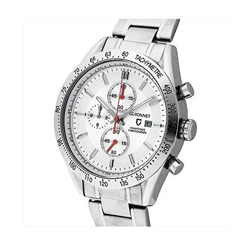 Guionnet Men Flighttimer Watch Chronograph Tachymeter Function Quartz Metal Silver
