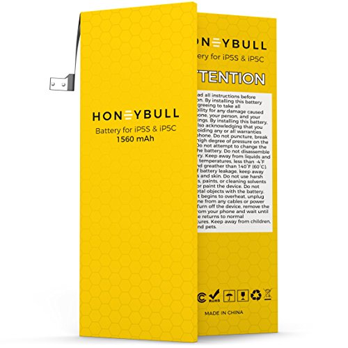HoneyBull Replacement Battery iP5S & iP5C [1560mAh] Upgraded New Backup Battery No Tools Included |Not for iP5