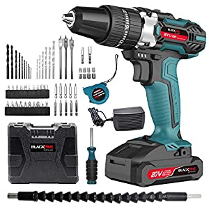 Blackpine 20V Cordless Drill with Impact Function 2000mAh Lithium-Battery 21+3 Torque Setting with 2 Speed 10mm Metal…