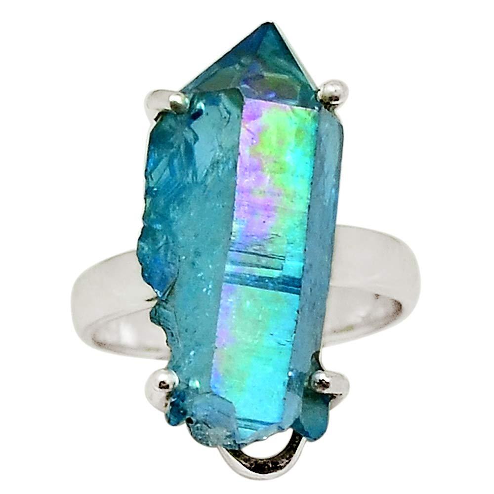 Xtremegems Aqua Aura Quartz 925 Sterling Silver Ring Jewelry Size 7 30504R