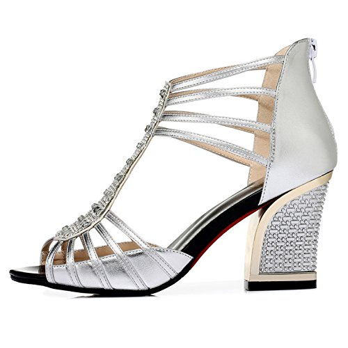 Femmes Mode Shining Chaussures Strass Peep Toe Bloc Talon Strappy Découper Parti Prom Sandales De Mariage Silver qRWNq8